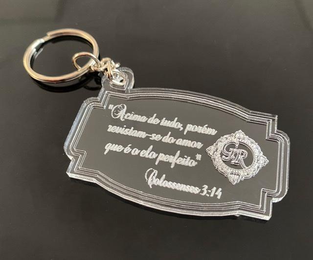 Chaveiros Casamento Personalizados Frase Bíblica e Brasão Acrílico