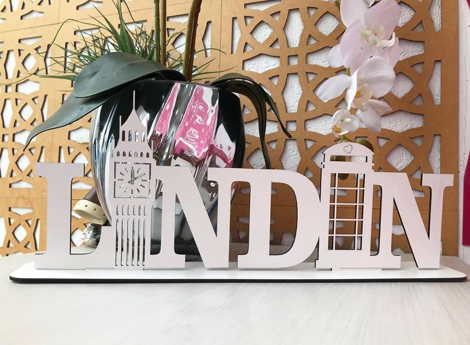 Enfeite decorativo de mesa LONDRES 40cm MDF Cru ou Branco