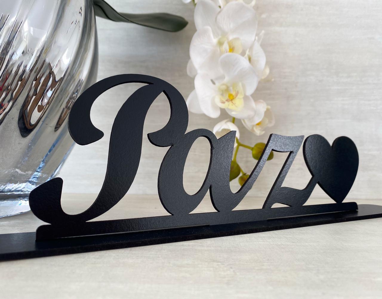 Enfeite decorativo de mesa Paz 28cm MDF
