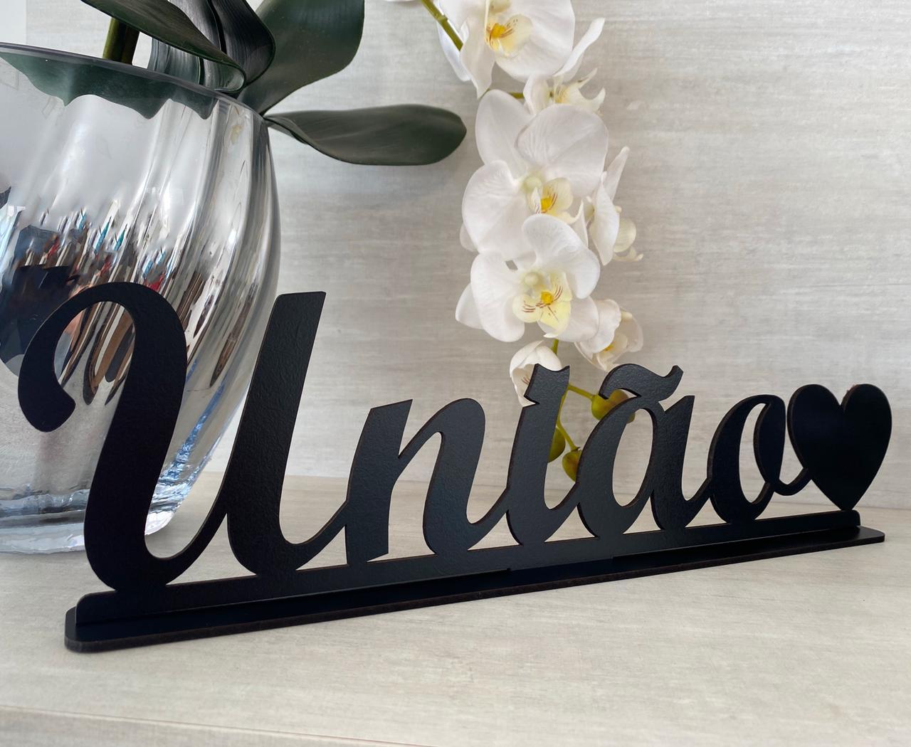 Enfeite decorativo de mesa União 40cm MDF