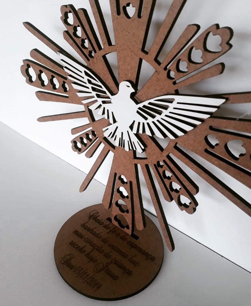 Kit centro de mesa  Divino Espirito santo  MDF cru 20 cm