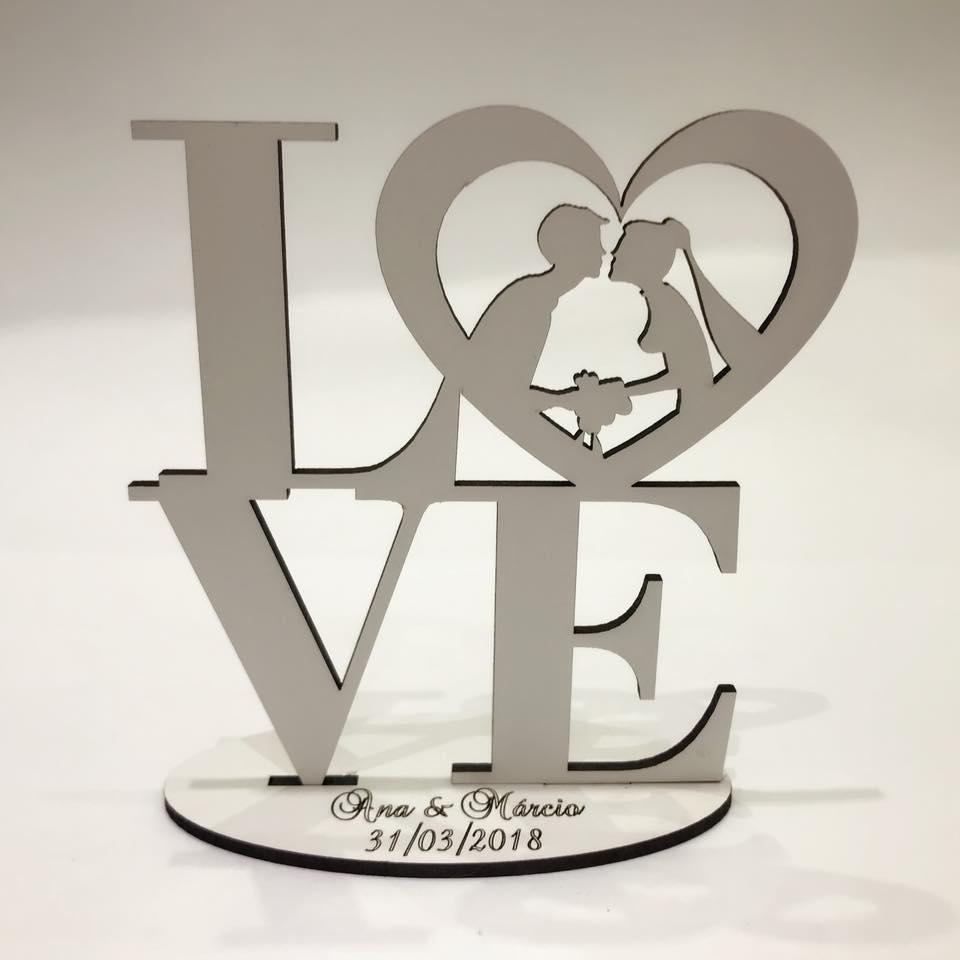 Ref. 002 - Kit Lembrancinhas de Casamento MDF Branco Love Noivos