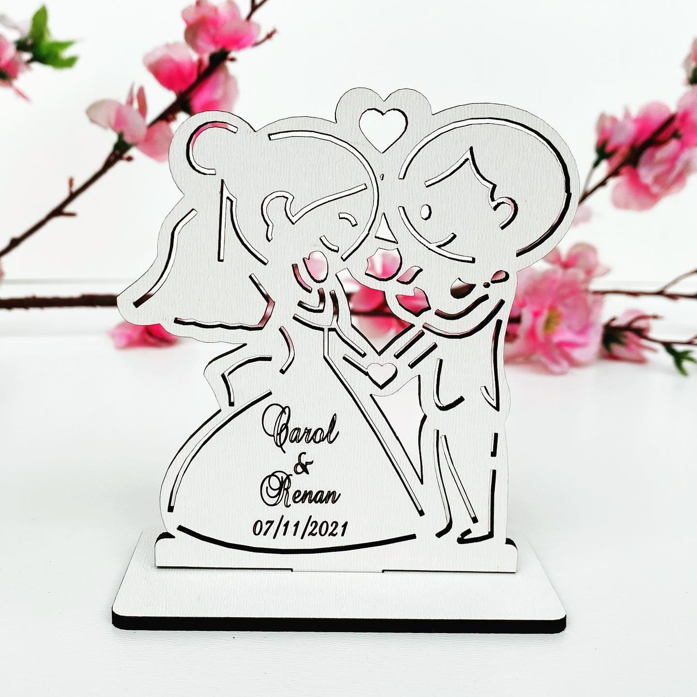 Kit Lembrancinhas de Casamento MDF Branco Noivinhos