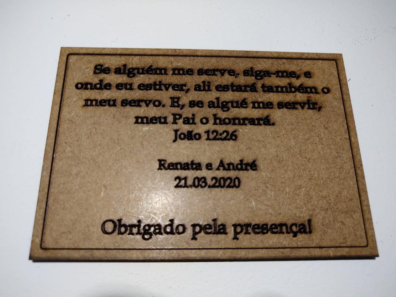 Plaquinhas de Agradecimento em MDF Cru com mensagem personalizada 10cm