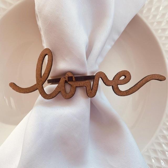Porta Guardanapos Love MDF Cru Casamento