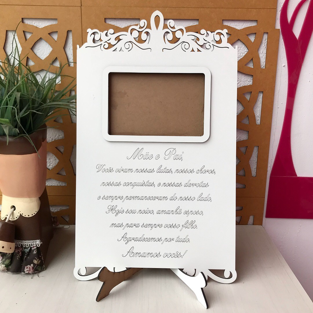 Ref. 300 - Porta Retrato com Frase para os Pais - NOIVO - Casamento MDF Branco