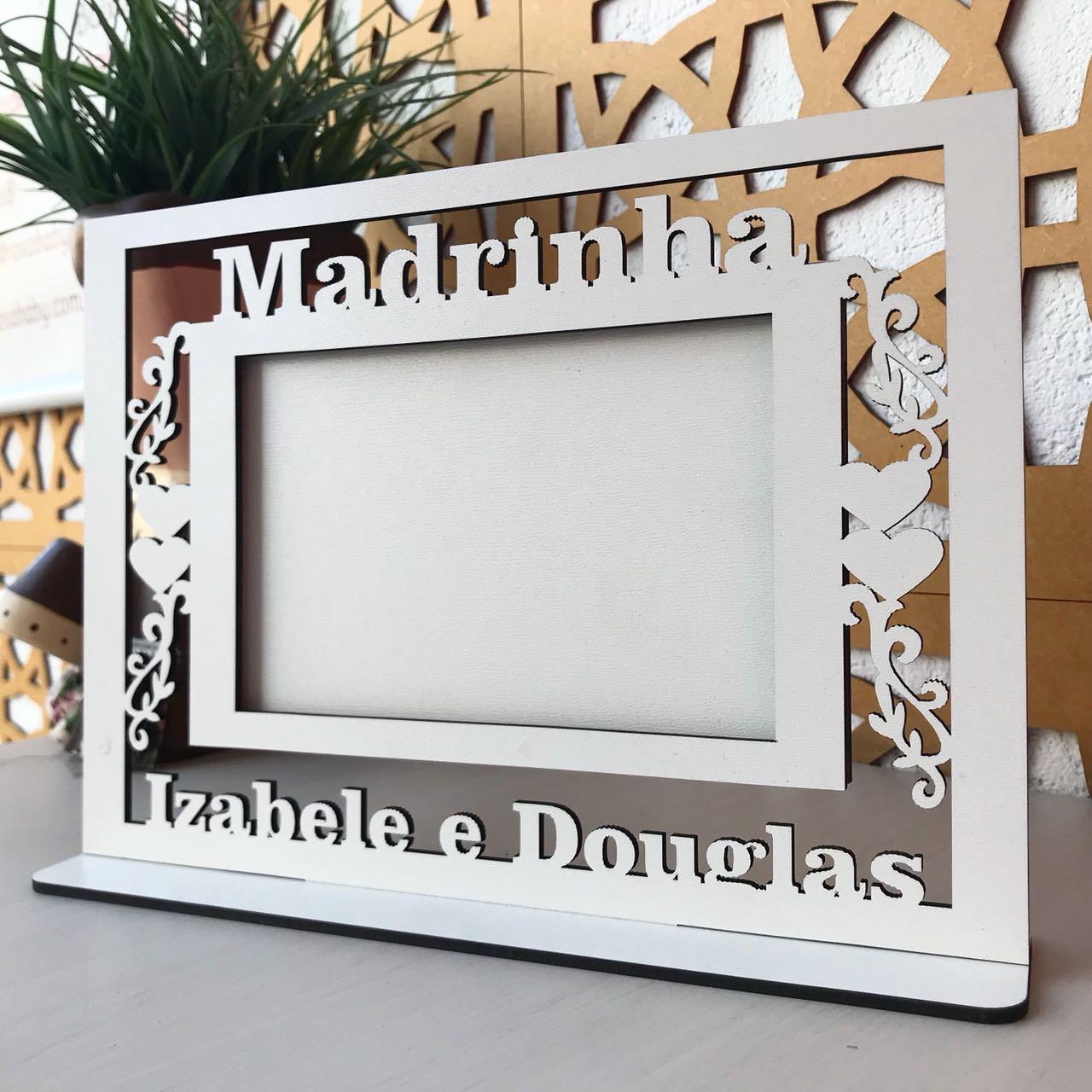 Quadro Porta Retratos MADRINHA Casamento (1 peça) - MDF Branco