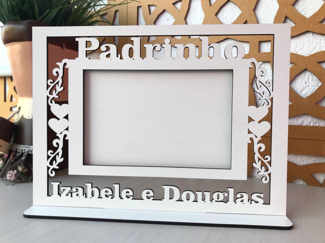 Ref. 106 - Quadro Porta Retratos PADRINHO Casamento - MDF Branco
