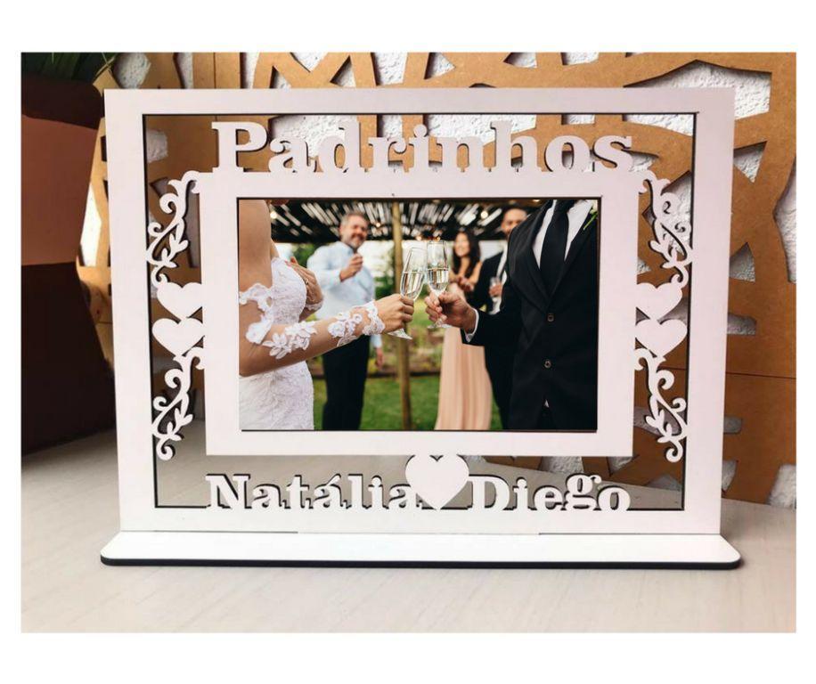Quadro Porta Retratos Padrinhos Casamento (1 peça) - MDF Branco