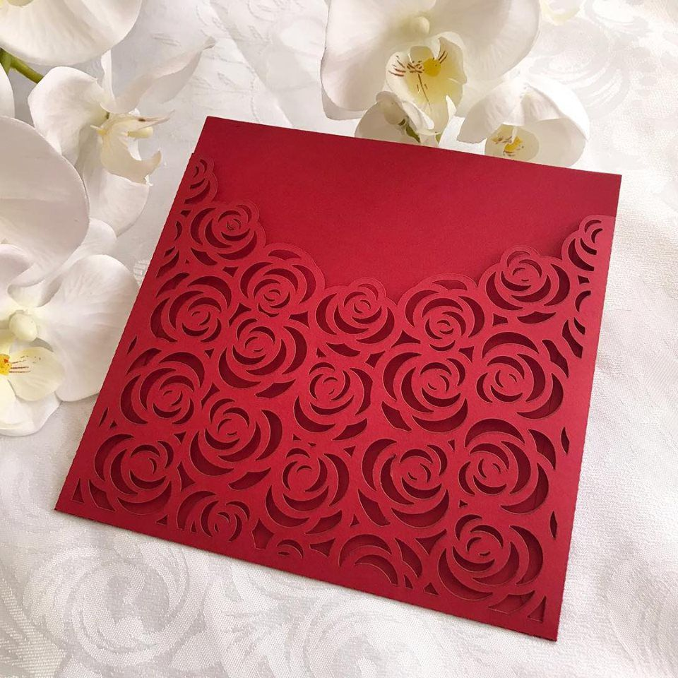 Ref. 001 - Envelope para Convite Casamento 18x18cm Corte a Laser Floral Papel Color Plus 180g
