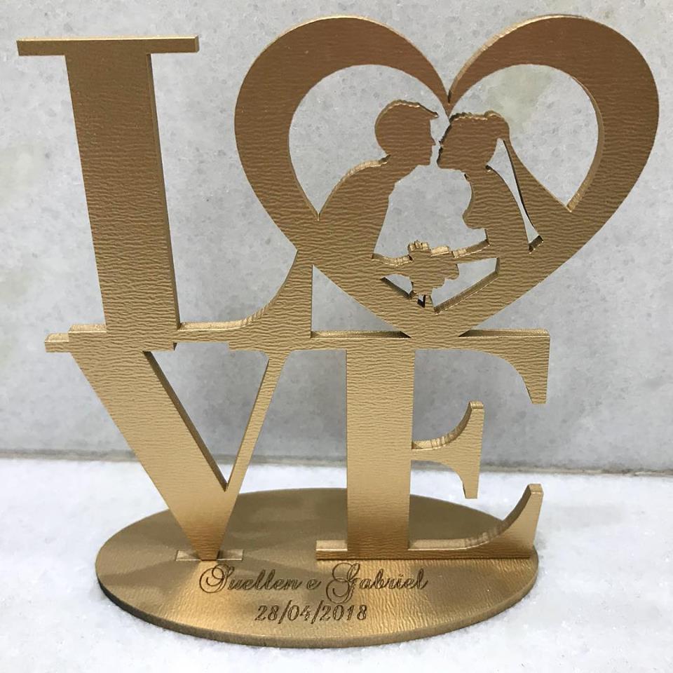 Ref. 002 - Kit Lembrancinhas de Casamento MDF Dourado Love Noivos