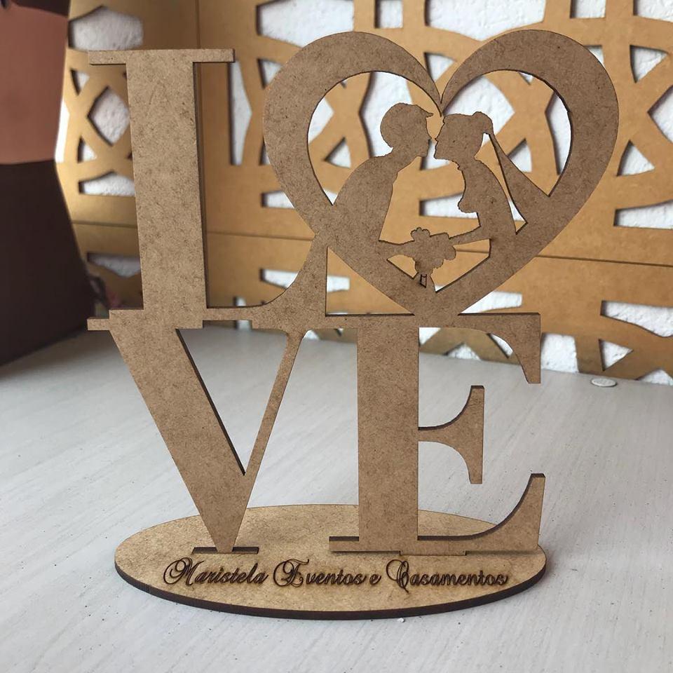 Ref. 002 - Topo de Bolo Casamento Noivos Coração Love - 15cm MDF CRU