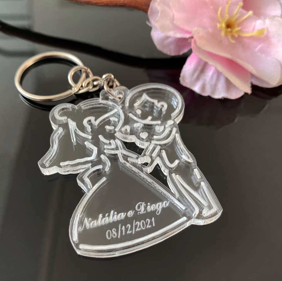 Ref. 003 -  Chaveiros Casamento Personalizados Acrílico Cristal Noivinhos