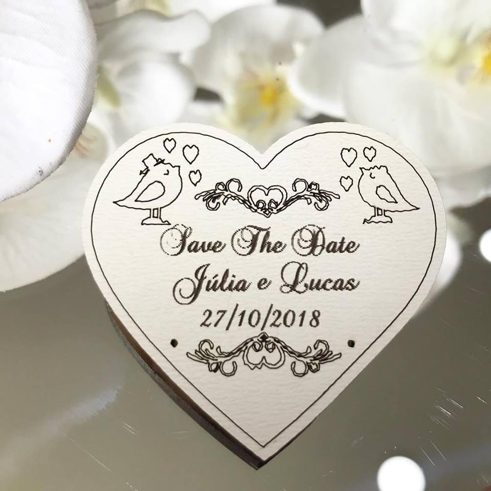 Ref. 004 -  Ímãs de Geladeira Coração Save The Date Noivos Personalizado MDF BRANCO