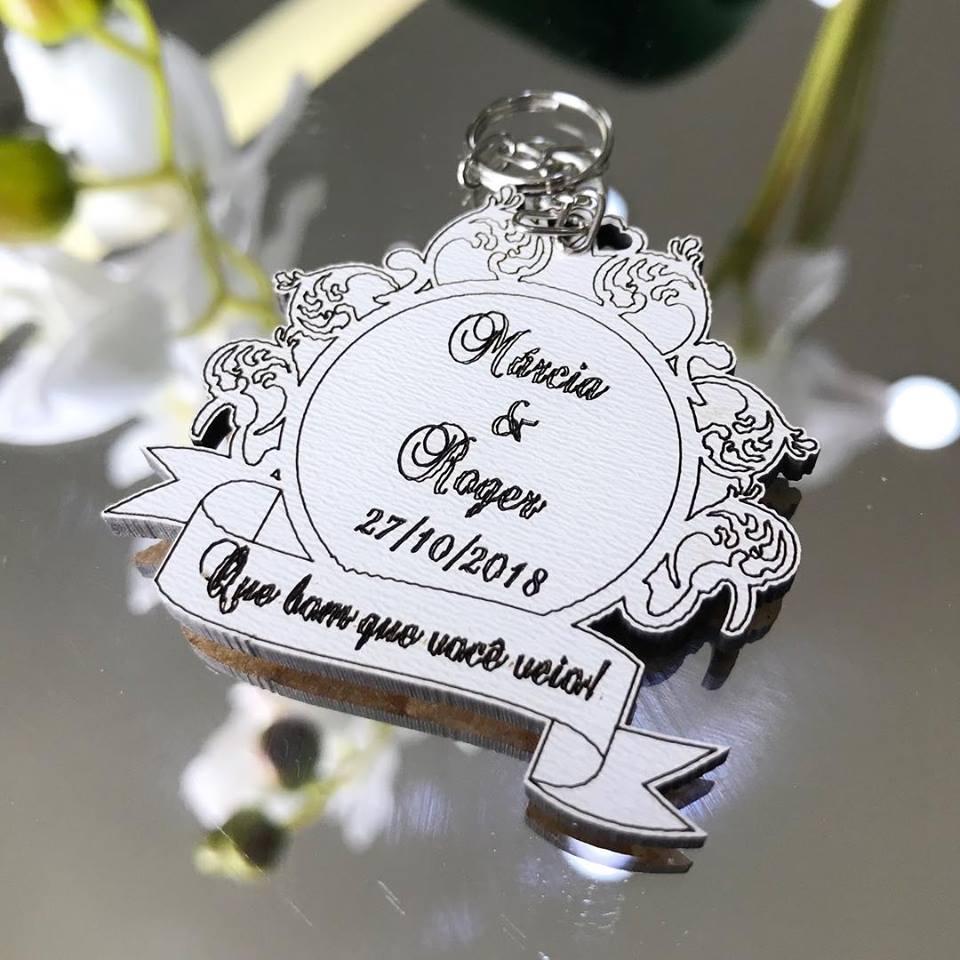 Ref. 006 - Chaveiros Casamento Personalizado MDF BRANCO