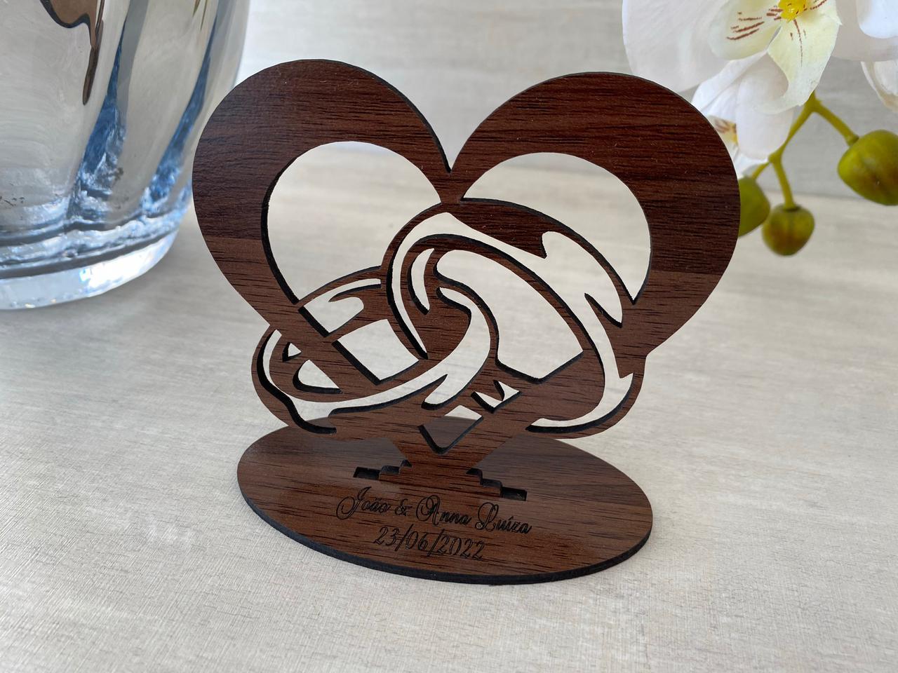 Ref. 006 - Kit Lembrancinhas de Casamento MDF Laminado Madeira Coração