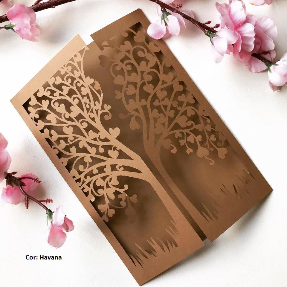 Ref. 008 - Envelope para Convite Casamento 13x18cm Corte a Laser Arvore Corações Papel Color Plus 180g