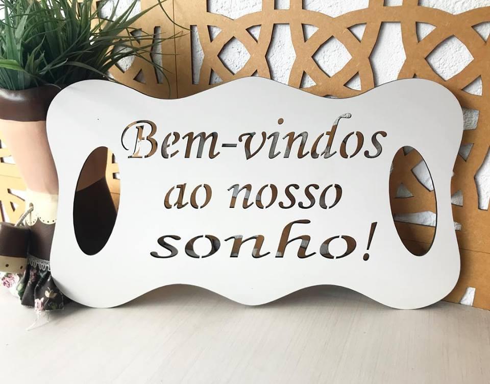 Ref. 008 - Placa Bem Vindos ao nosso Sonho para Daminha MDF BRANCO 35cm