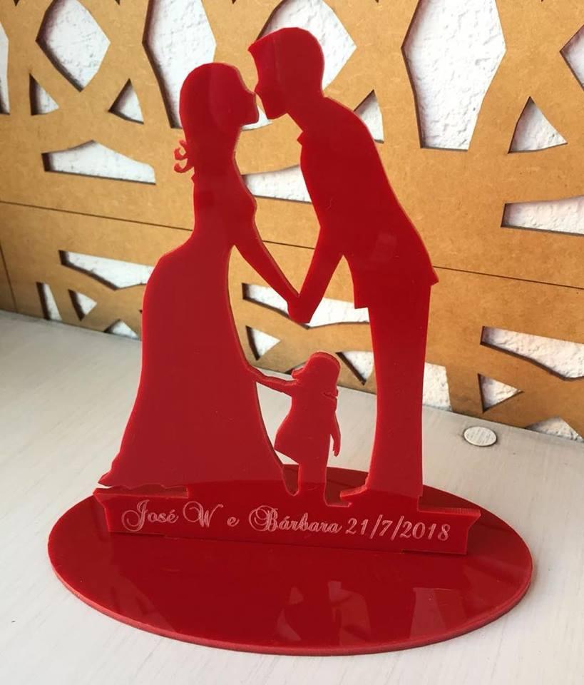 Ref. 008 - Topo de Bolo Acrílico Noivos Criança Menina Casamento 15cm