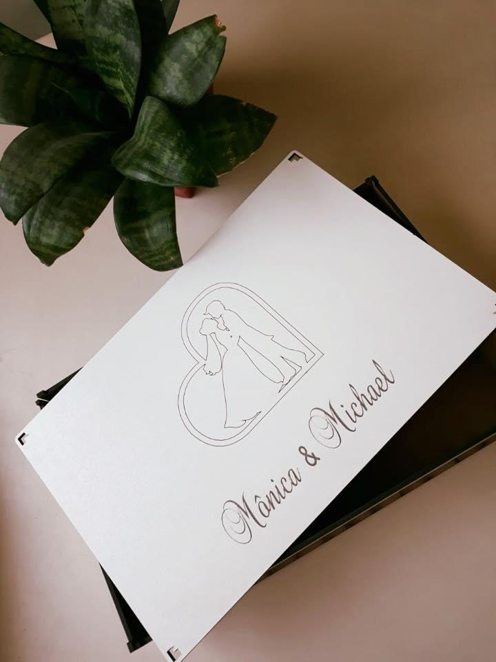 Ref. 010 - Caixa Convite Personalizada MDF Branco 24x15cmx2cm