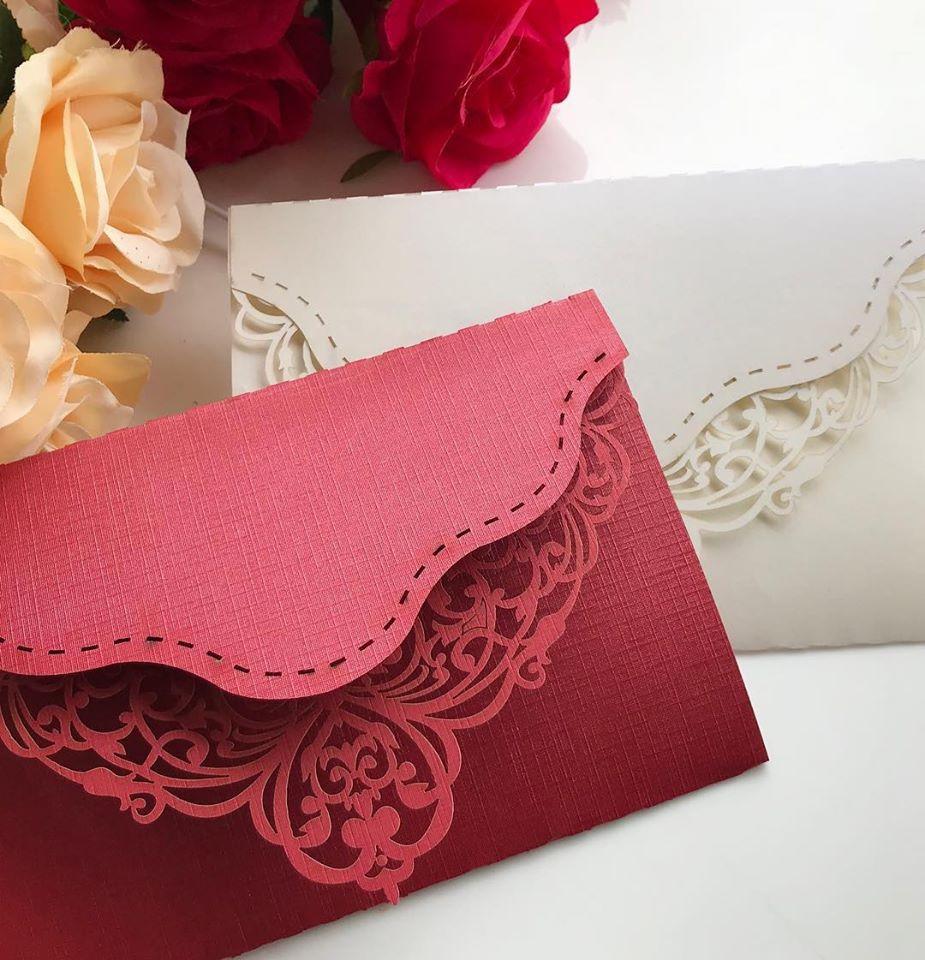 Ref. 010 - Envelope para Convite Casamento 13x18cm Corte a Laser Arabesco Papel Color Plus 180g