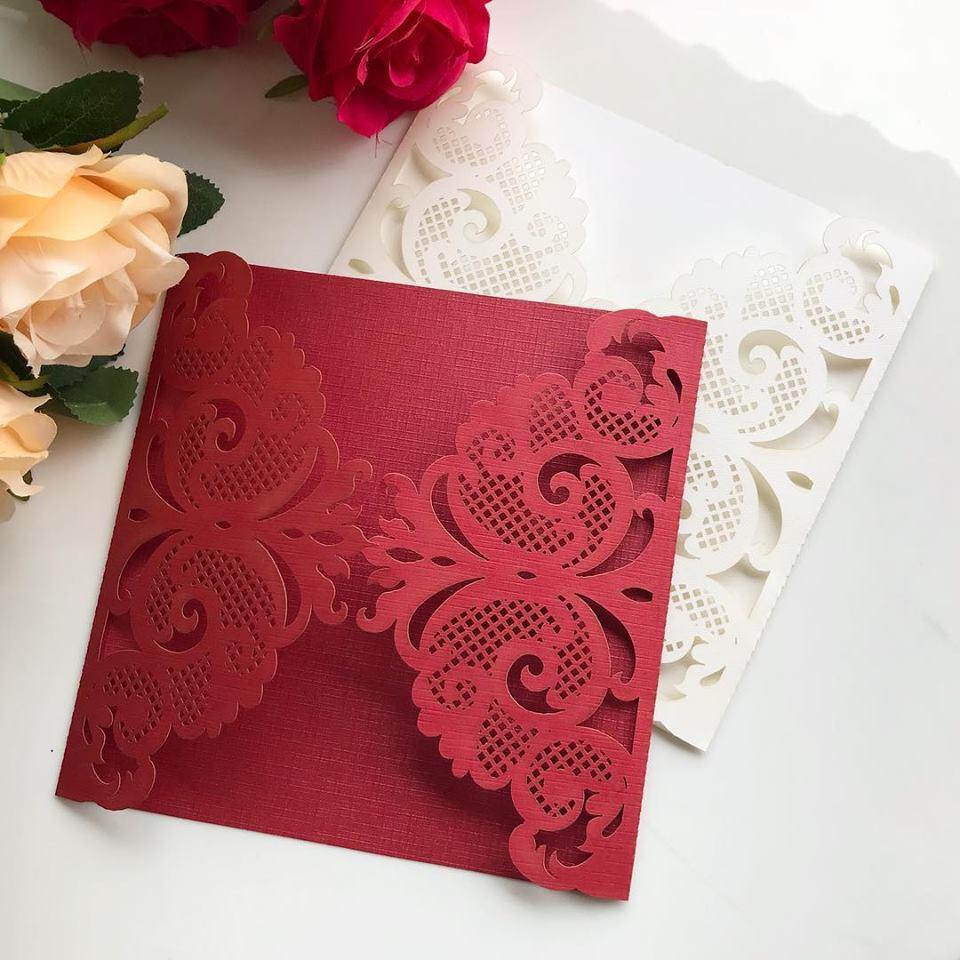 Ref. 011 - Envelope para Convite Casamento 18x18cm Corte a Laser Arabesco Papel Color Plus 180g