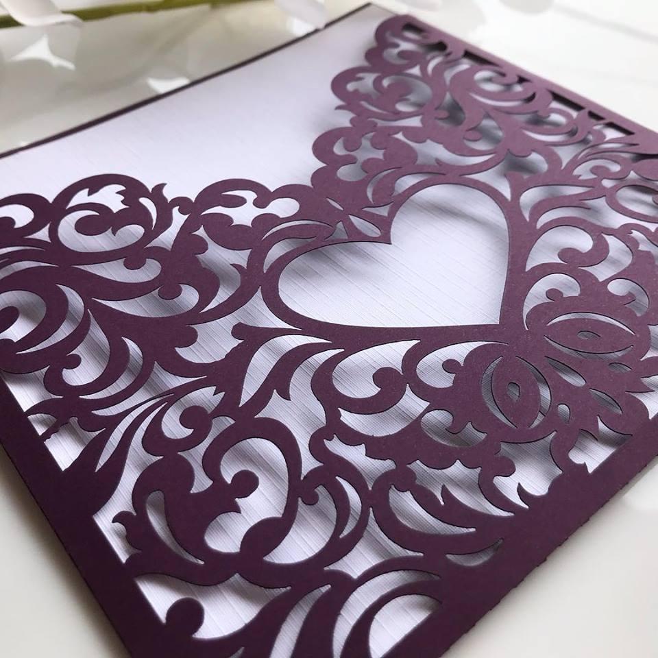 Ref. 014 - Envelope para Convite Casamento 18x18cm Corte a Laser Arabesco Papel Color Plus 180g