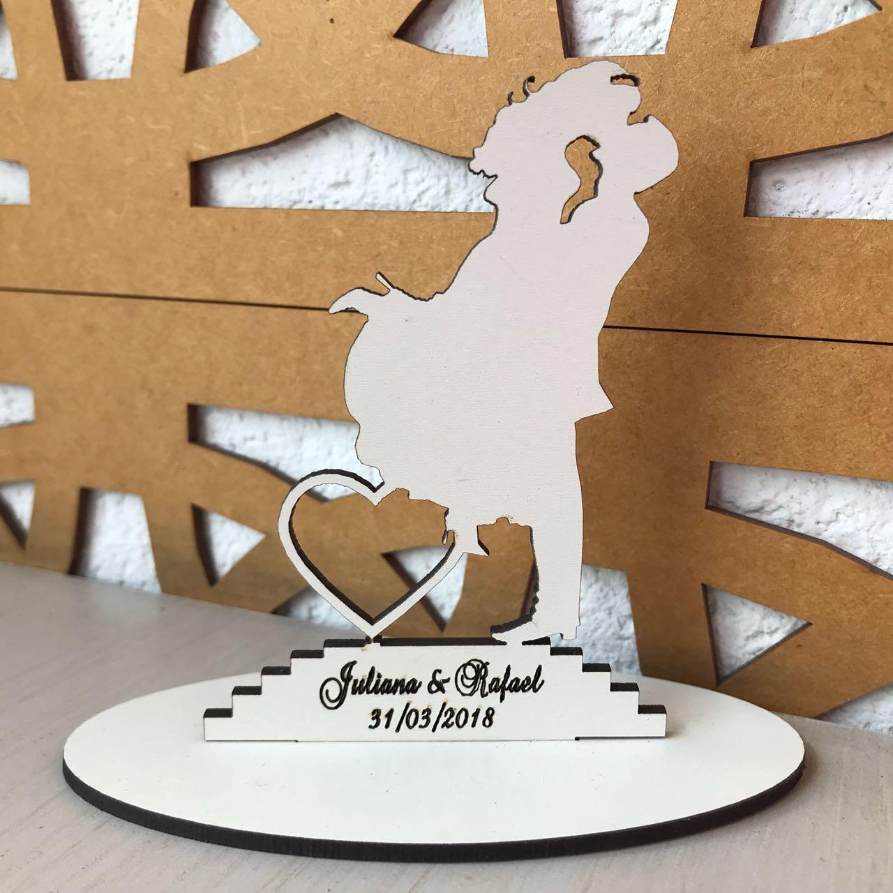 Ref. 015 - Topo de Bolo MDF Branco Coração Alianças Noivos Casamento 15cm