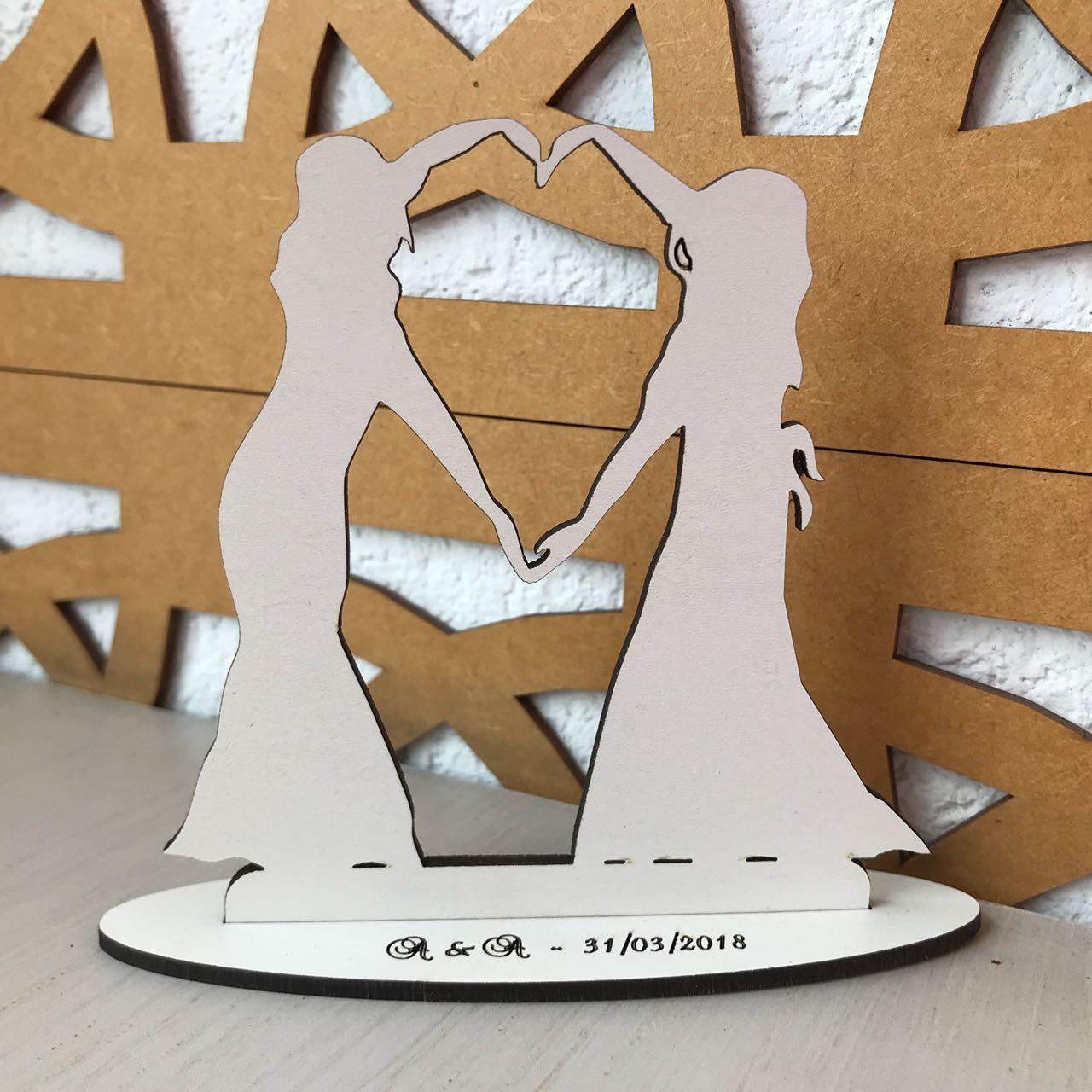 Ref. 018 - Topo de Bolo MDF Branco Coração Alianças Noivas Casamento 15cm