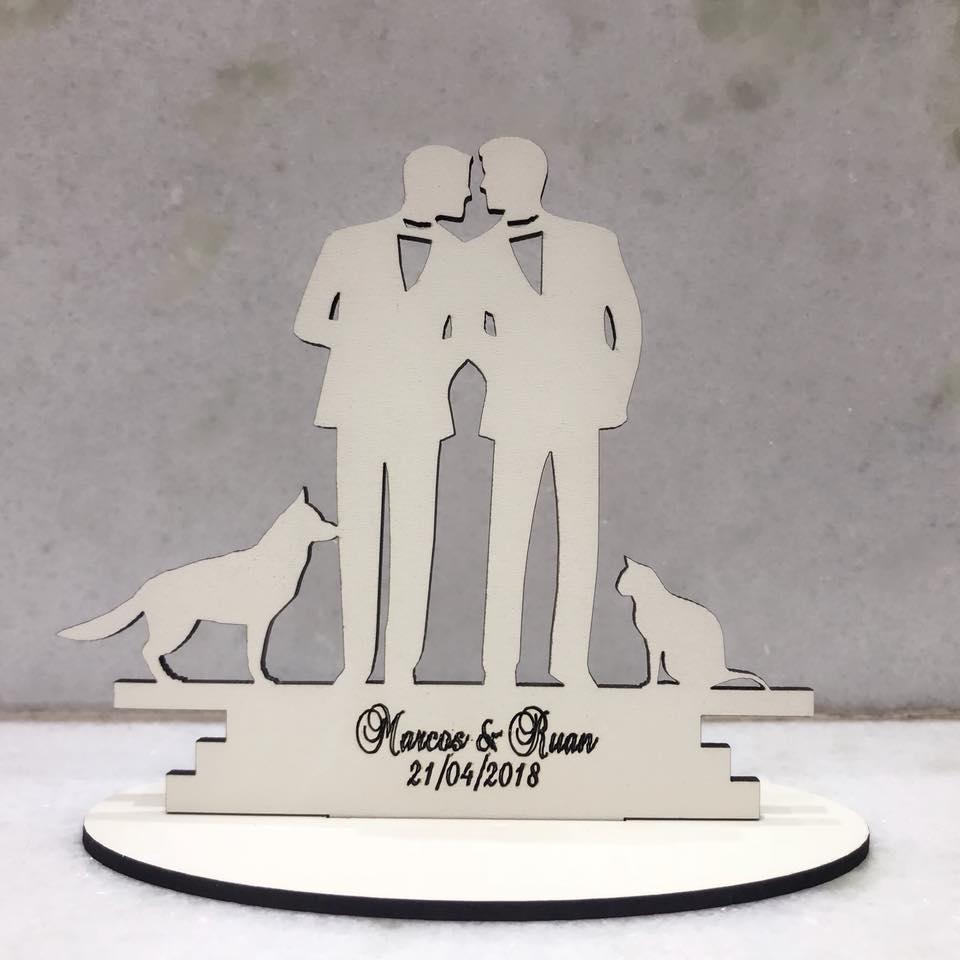 Ref. 019 - Kit Lembrancinhas de Casamento Personalizadas MDF Branco Noivos
