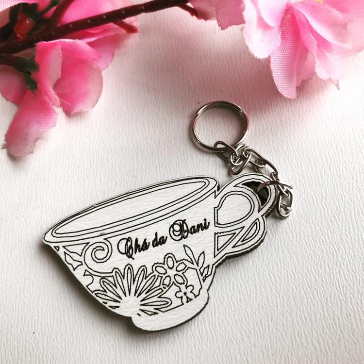 Ref. 020 -  Chaveiros xícara Chá de Cozinha Personalizados MDF BRANCO