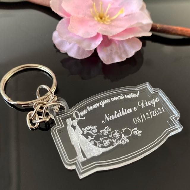 Ref. 021 -  Chaveiros Casamento Personalizados Acrílico Cristal