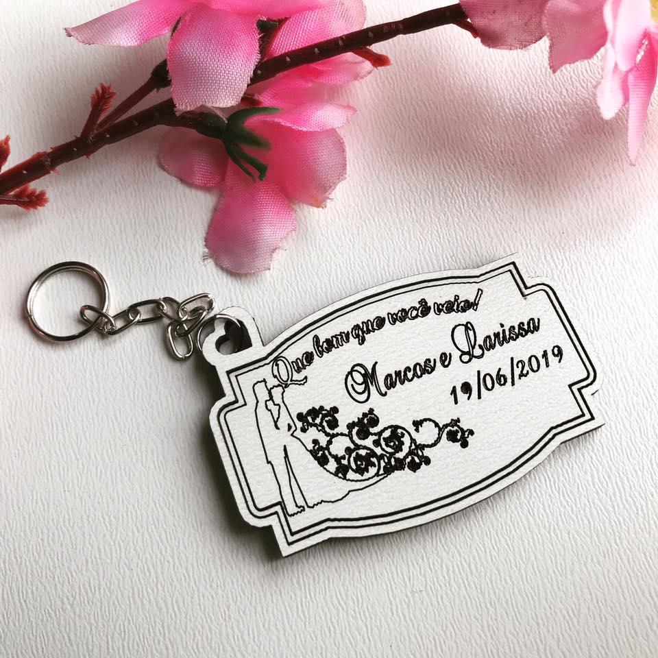 Ref. 021 -  Chaveiros Casamento Delicate Personalizados MDF BRANCO
