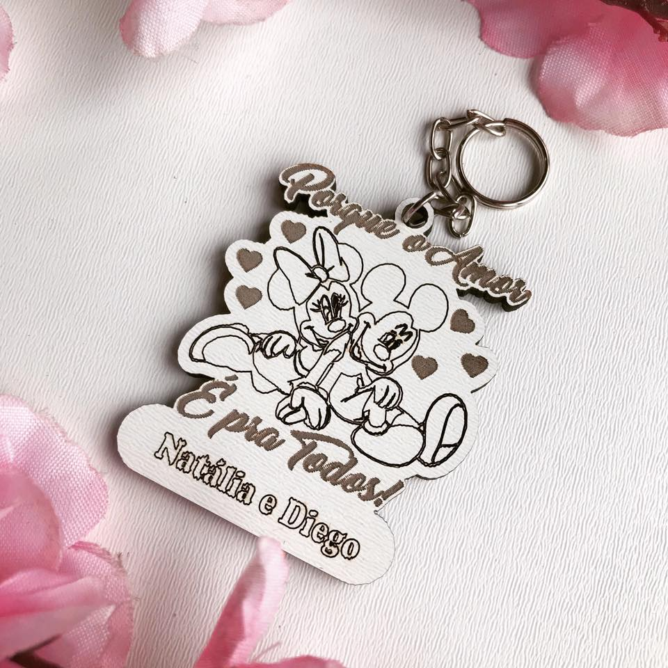 Ref. 022 -  Chaveiros Casamento Mickey Minnie Personalizados MDF BRANCO