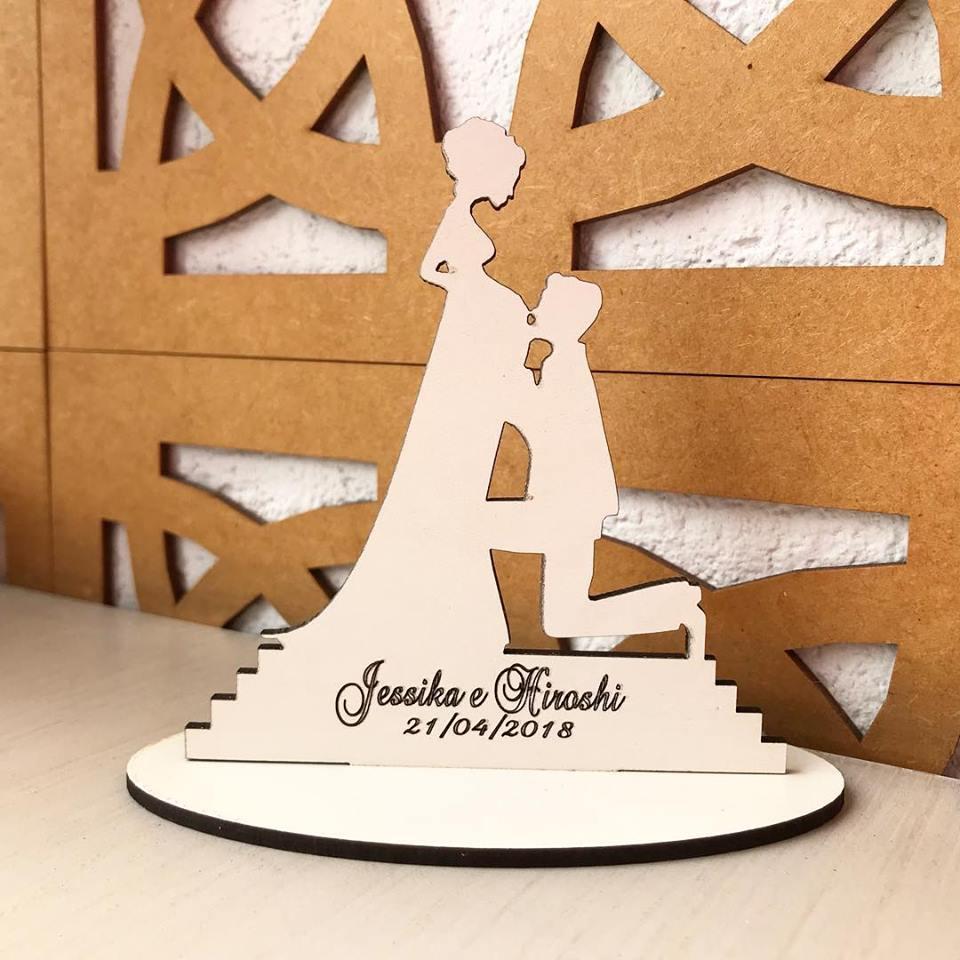 Ref. 022 - Kit Lembrancinhas Casamento Gestante Personalizadas MDF Branco
