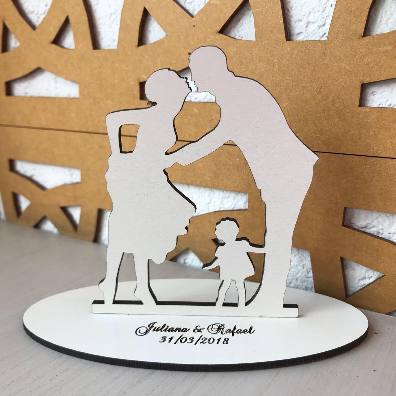 Ref. 026 - Topo de Bolo MDF Branco Noivos Casamento 15cm Menina Criança
