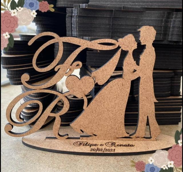 Ref. 034 - Kit Lembrancinhas de Casamento MDF Cru Iniciais Noivos