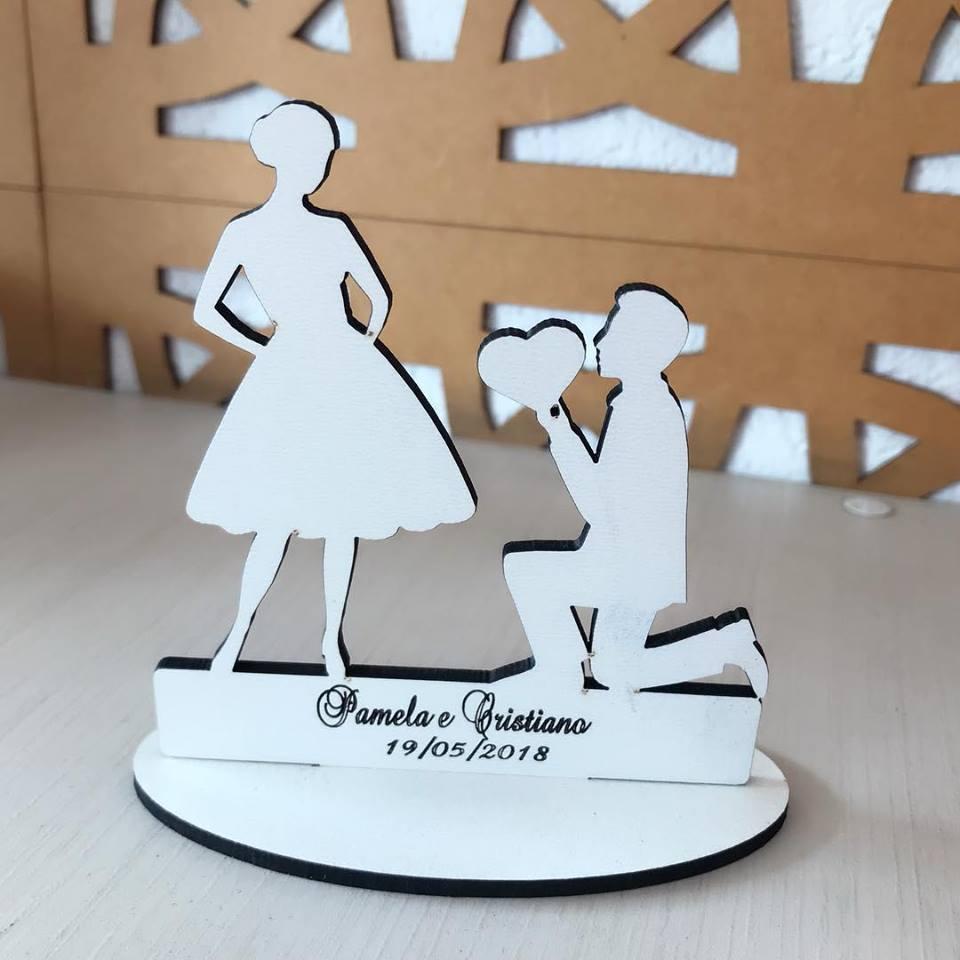 Ref. 041 - Kit Lembrancinhas Casamento Noivos Coração - MDF Branco