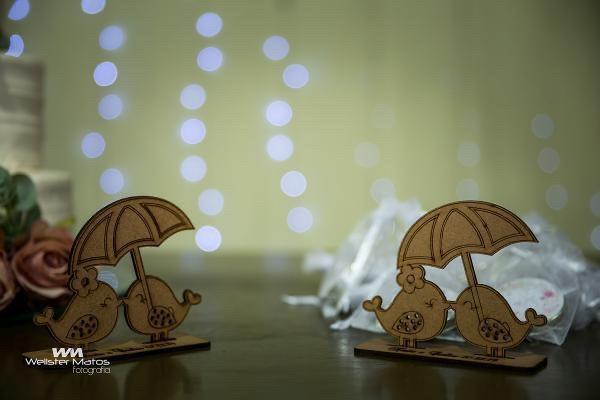 Ref. 042 - Kit Lembrancinhas de Casamento Passarinhos Personalizadas MDF Cru