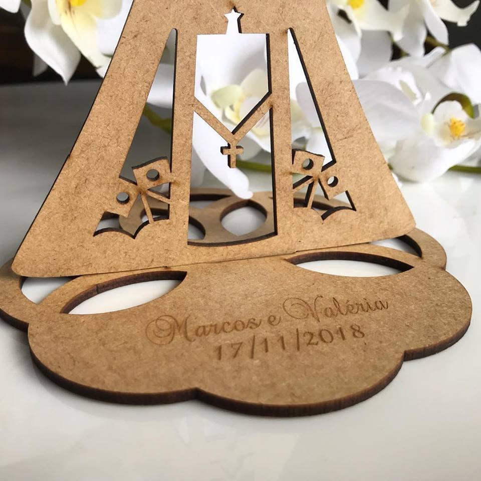 Ref. 050 - Kit Lembrancinhas de Casamento Personalizadas Nossa Senhora MDF Cru