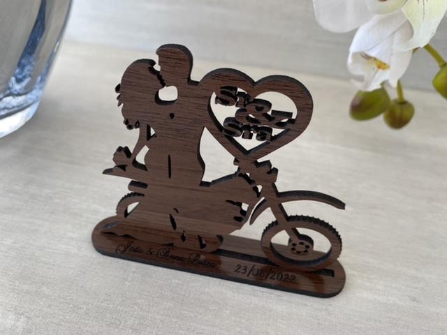 Ref. 059 - Kit Lembrancinhas de Casamento MDF Laminado Madeira Motocross Noivos
