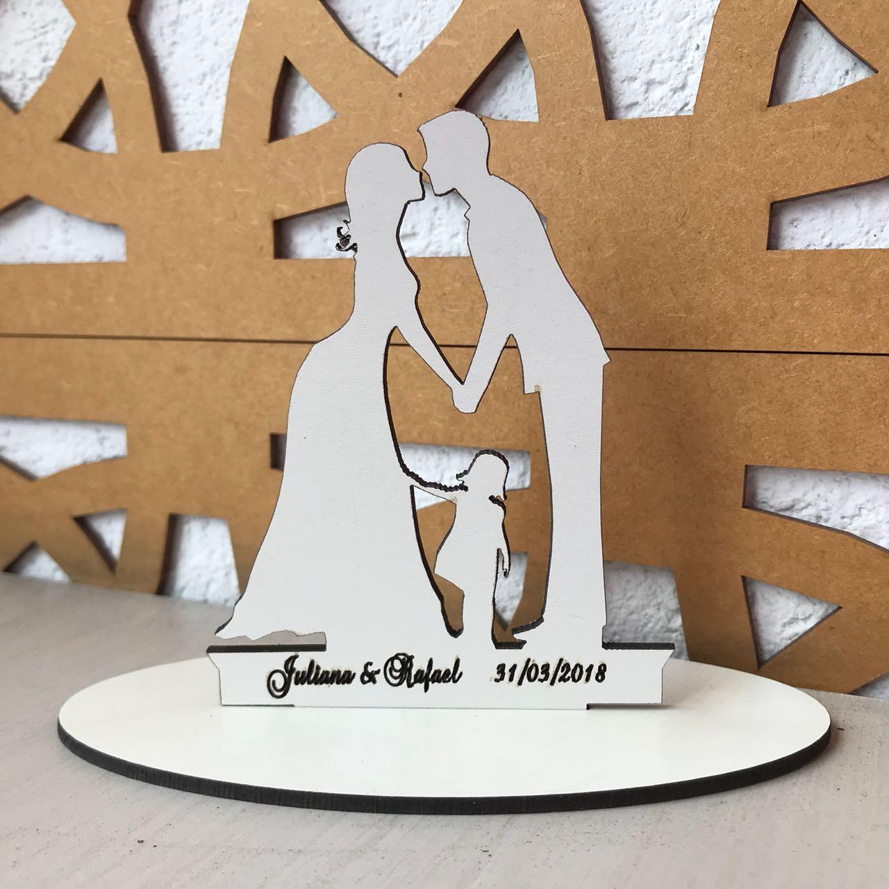 Ref. 008 - Topo de Bolo MDF Branco Coração Alianças Noivos Casamento 15cm Menina Filha