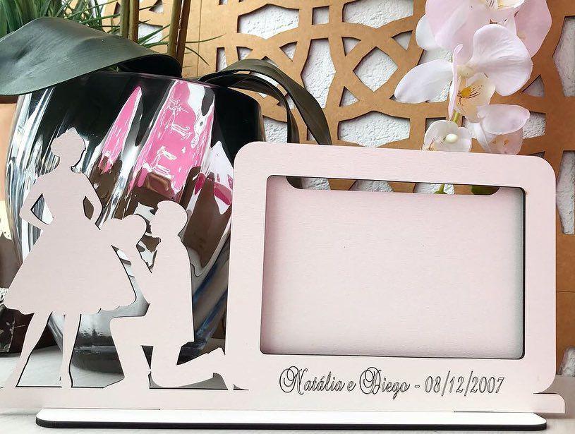 Ref. 102 - Quadro Porta Retrato Personalizado Noivos Casamento - MDF Branco