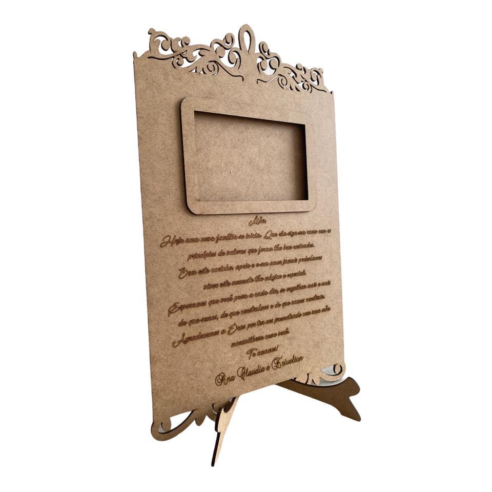 Ref. 300 - Porta Retrato com Frase para Mãe - Casamento MDF Cru