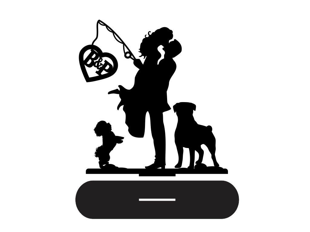 Topo de Bolo Acrílico Noivos com cachorrinhos Casamento 15cm