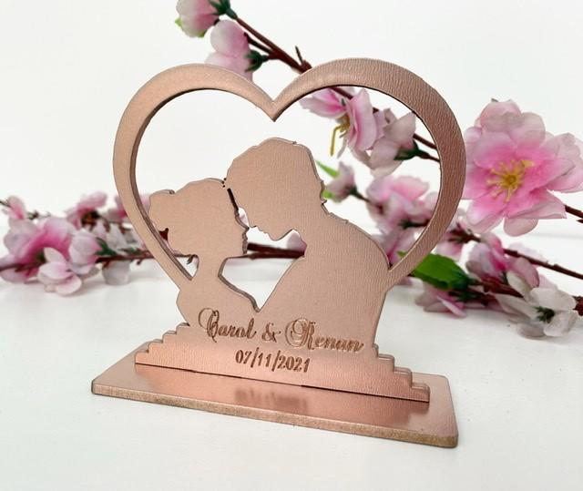 Topo de Bolo Coração Noivos Casamento 15cm MDF Rose Gold