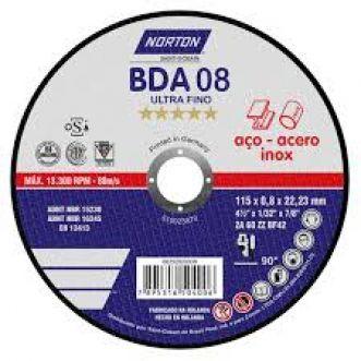 DISCO DE CORTE BDA08 ULTRAFINO PARA ACO E INOX - NORTON
