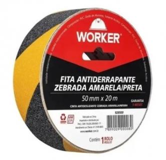 FITA ANTIDERRAPANTE 50MMX20M ZEBRADA - WORKER