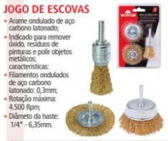 JOGO ESCOVAS DE ACO LATONADO (03 PECAS) - WORKER