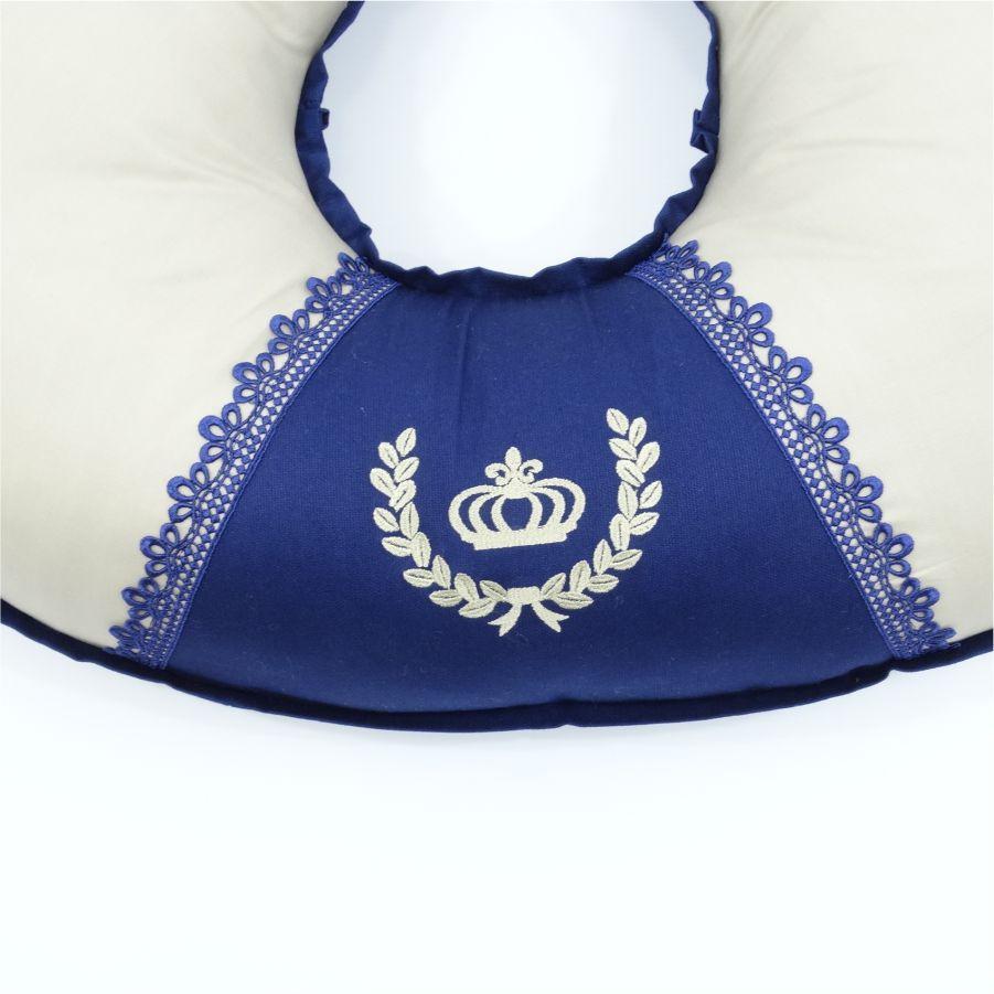 Almofada de amamentar Lorenzo com azul marinho
